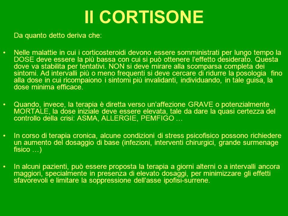 Il CORTISONE Da quanto detto deriva che: Nelle malattie in cui i corticosteroidi devono essere somministrati per lungo tempo la DOSE deve essere la pi