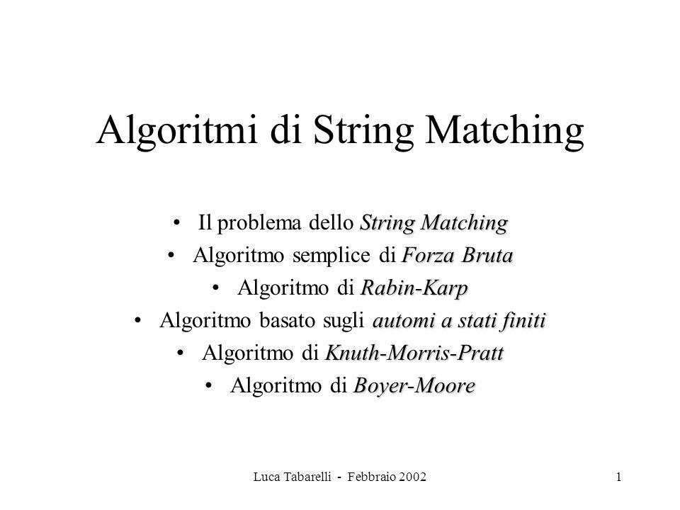 2 Il problema dello String Matching Problema: cercare allinterno di un documento il numero e la posizione delle occorrenze di un insieme di elementi chiamato Pattern.