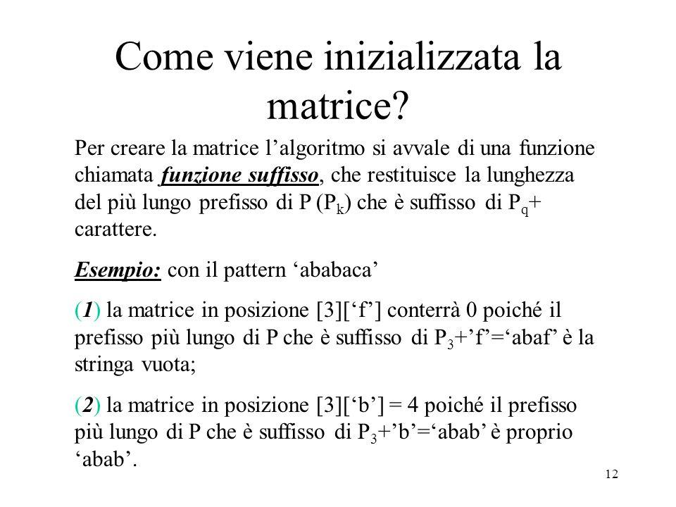 12 Come viene inizializzata la matrice? Per creare la matrice lalgoritmo si avvale di una funzione chiamata funzione suffisso, che restituisce la lung
