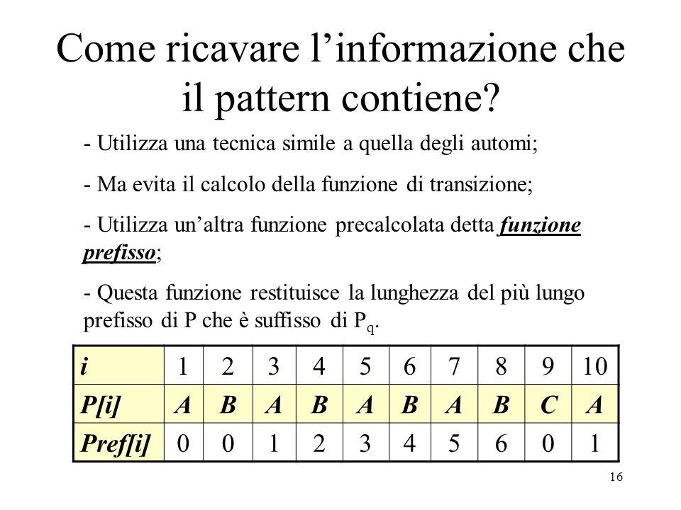 16 Come ricavare linformazione che il pattern contiene? - Utilizza una tecnica simile a quella degli automi; - Ma evita il calcolo della funzione di t