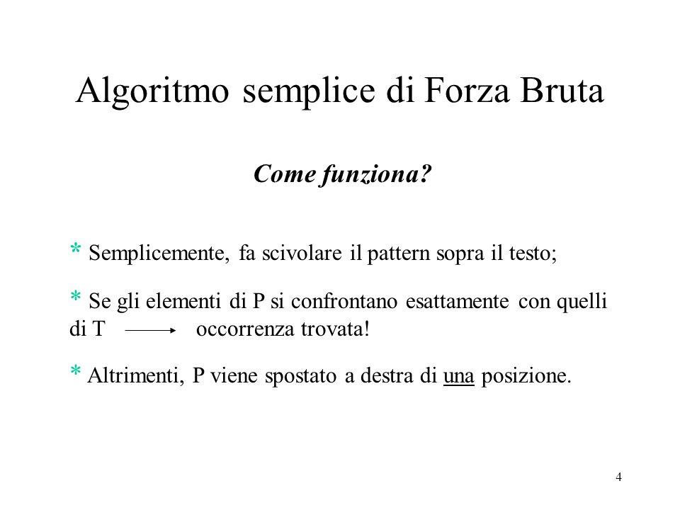 4 Algoritmo semplice di Forza Bruta Come funziona? * Semplicemente, fa scivolare il pattern sopra il testo; * Se gli elementi di P si confrontano esat