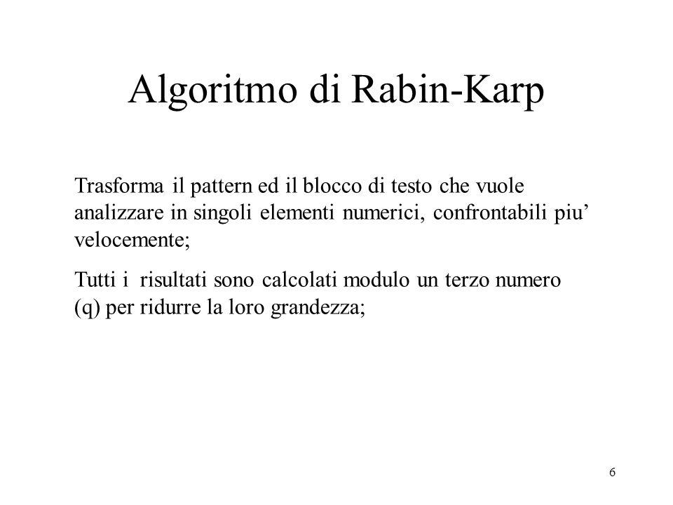 6 Algoritmo di Rabin-Karp Trasforma il pattern ed il blocco di testo che vuole analizzare in singoli elementi numerici, confrontabili piu velocemente;