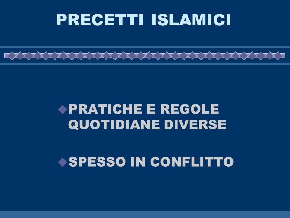 PRECETTI ISLAMICI PRATICHE E REGOLE QUOTIDIANE DIVERSE SPESSO IN CONFLITTO