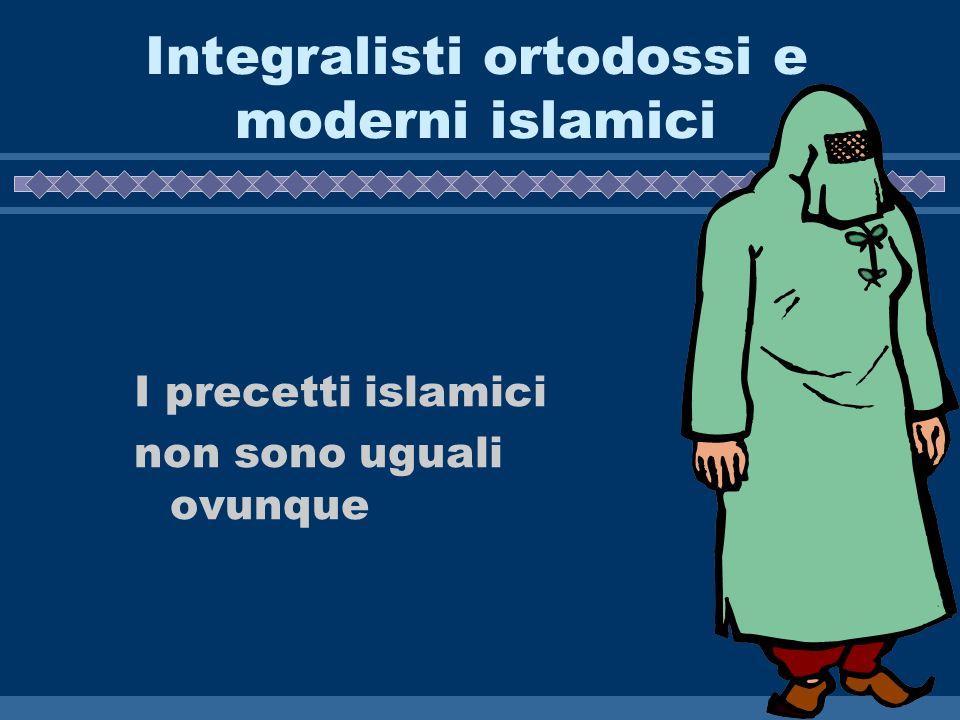 Integralisti ortodossi e moderni islamici I precetti islamici non sono uguali ovunque