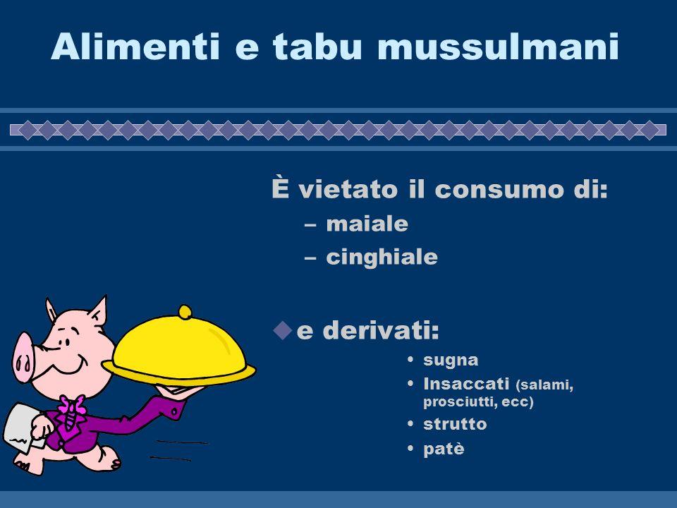 Alimenti e tabu mussulmani È vietato il consumo di: –maiale –cinghiale e derivati: sugna Insaccati (salami, prosciutti, ecc) strutto patè