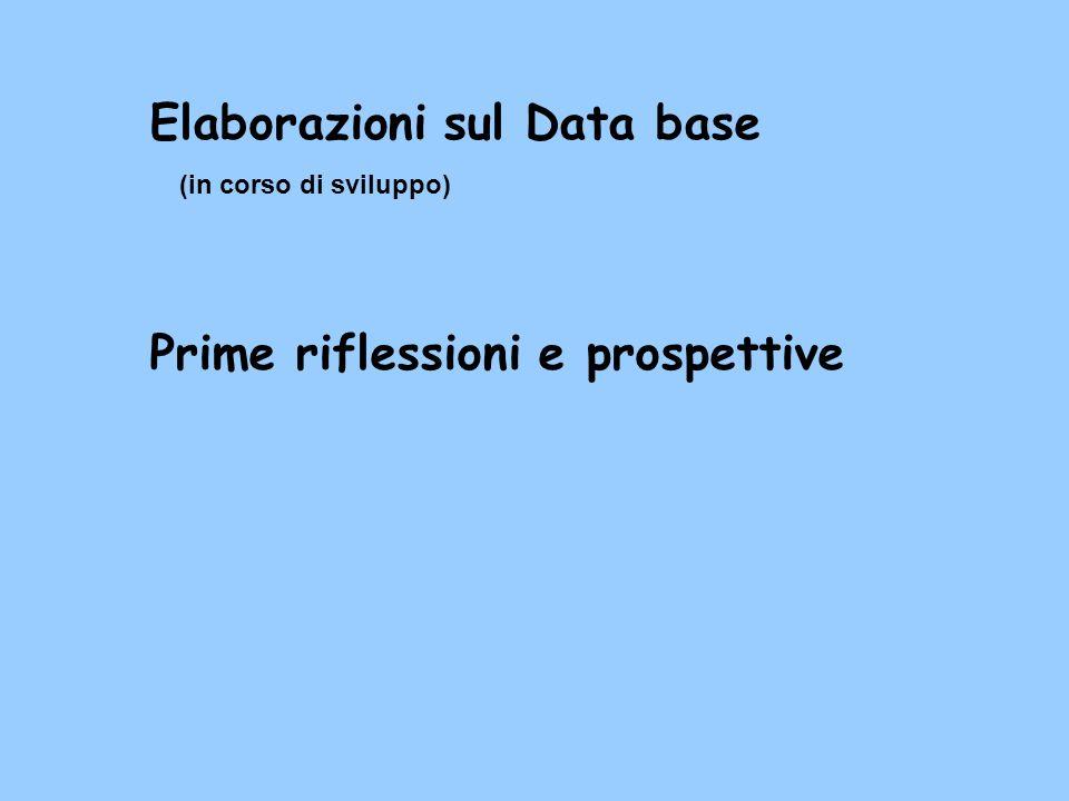 Elaborazioni sul Data base (in corso di sviluppo) Prime riflessioni e prospettive