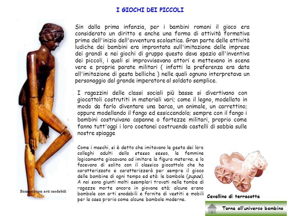 Luniverso bambino romano I giocattoli La bulla La nascita La famiglia Listruzione