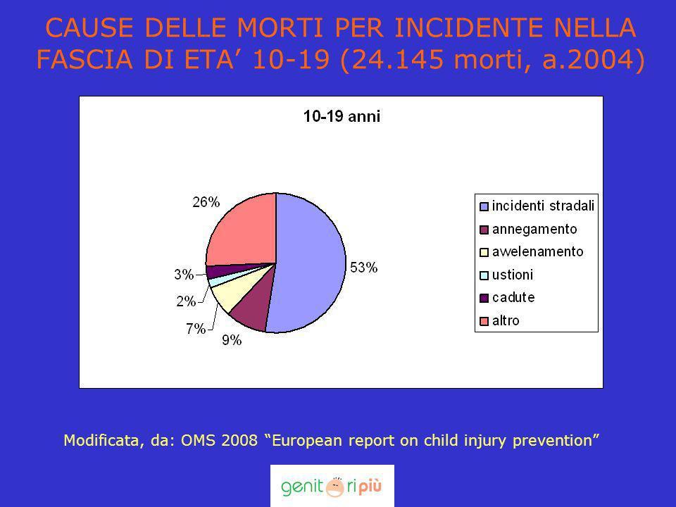 CAUSE DELLE MORTI PER INCIDENTE NELLA FASCIA DI ETA 10-19 (24.145 morti, a.2004) Modificata, da: OMS 2008 European report on child injury prevention