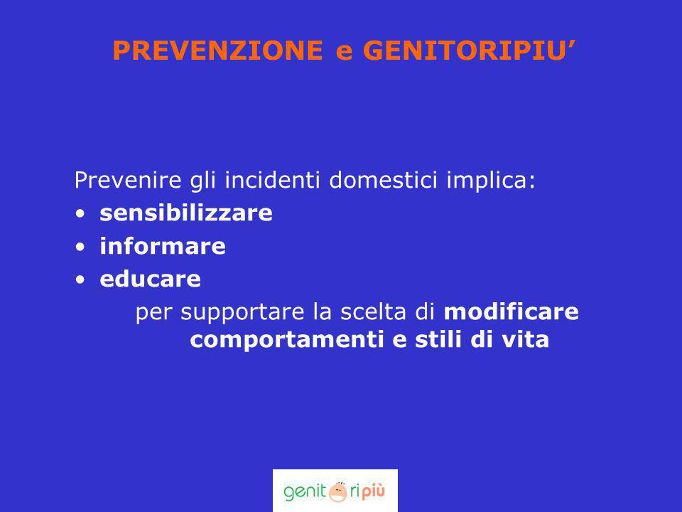 PREVENZIONE e GENITORIPIU Prevenire gli incidenti domestici implica: sensibilizzare informare educare per supportare la scelta di modificare comportam