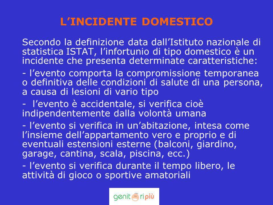 LINCIDENTE DOMESTICO Secondo la definizione data dallIstituto nazionale di statistica ISTAT, linfortunio di tipo domestico è un incidente che presenta