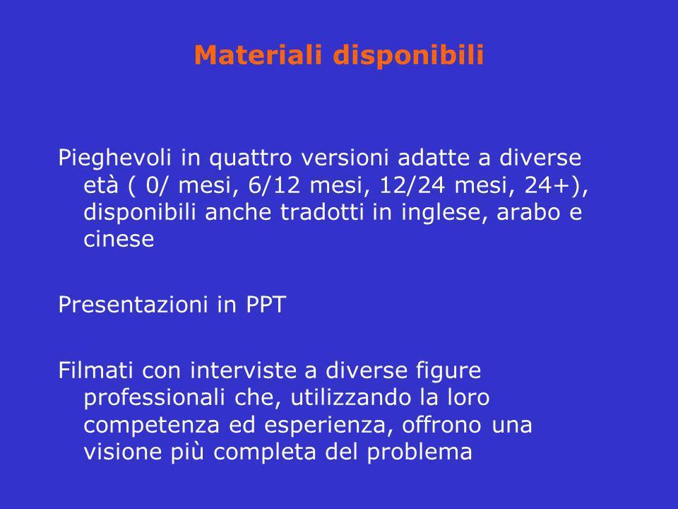 Materiali disponibili Pieghevoli in quattro versioni adatte a diverse età ( 0/ mesi, 6/12 mesi, 12/24 mesi, 24+), disponibili anche tradotti in ingles