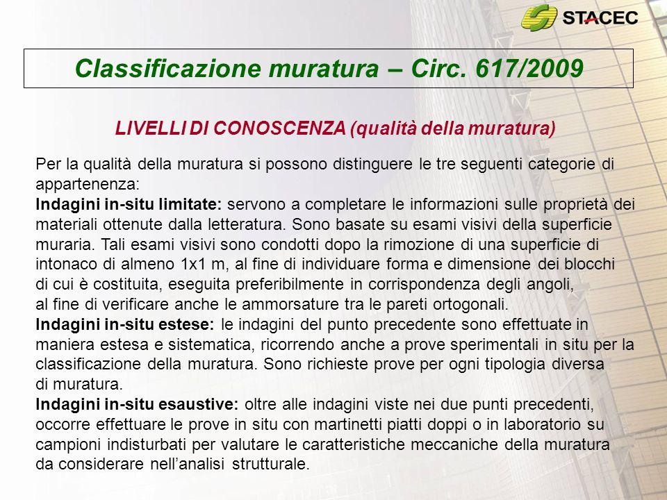 Classificazione muratura – Circ. 617/2009 LIVELLI DI CONOSCENZA (qualità della muratura) Per la qualità della muratura si possono distinguere le tre s