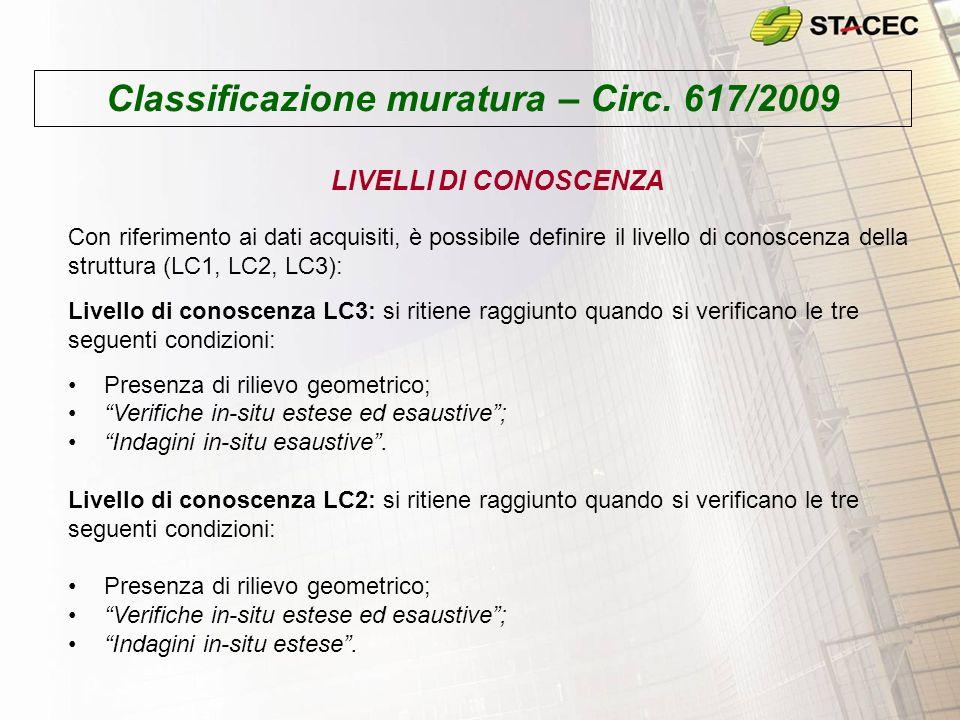 Classificazione muratura – Circ. 617/2009 Con riferimento ai dati acquisiti, è possibile definire il livello di conoscenza della struttura (LC1, LC2,