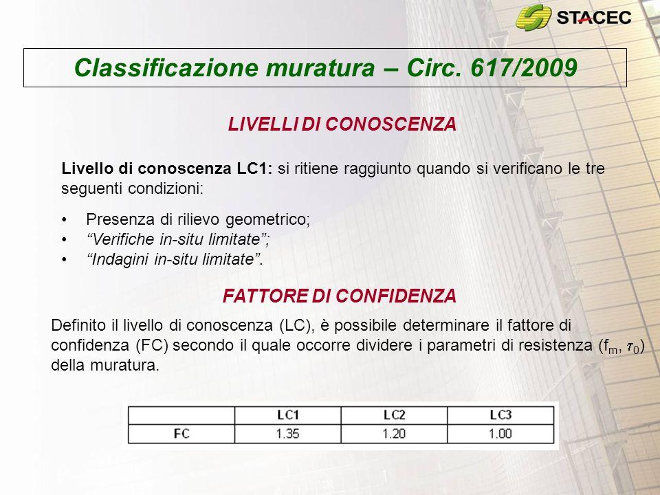 Classificazione muratura – Circ. 617/2009 Livello di conoscenza LC1: si ritiene raggiunto quando si verificano le tre seguenti condizioni: Presenza di