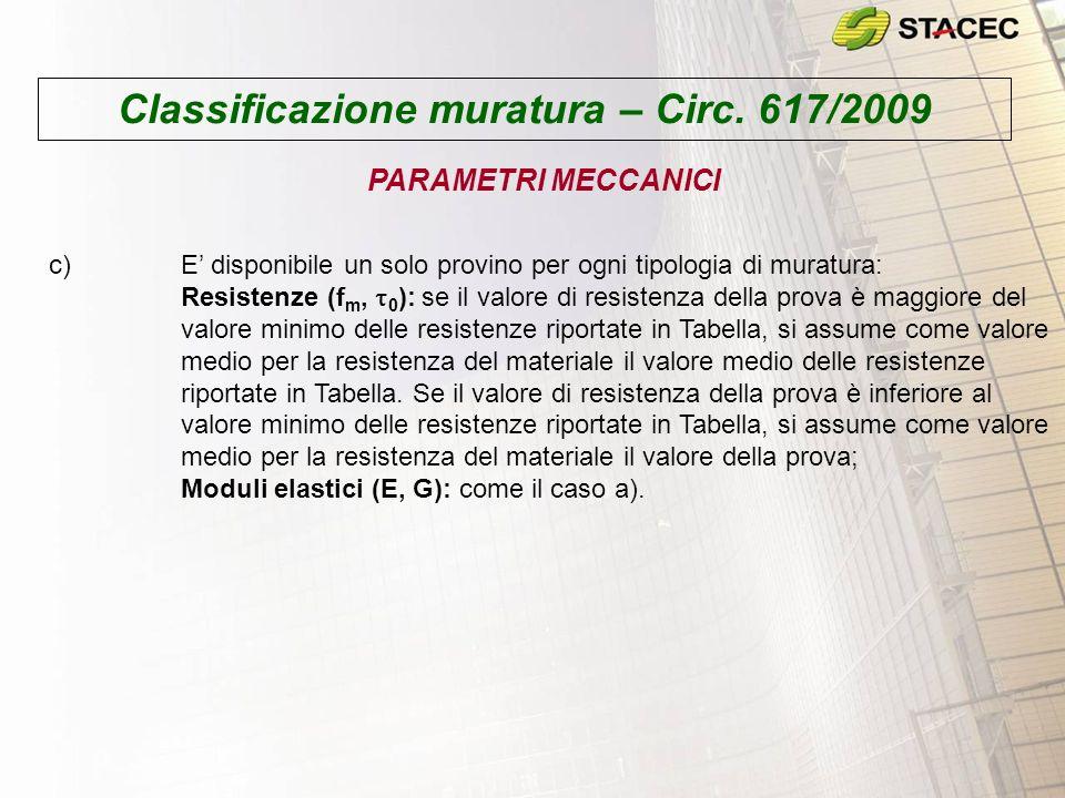 Classificazione muratura – Circ. 617/2009 PARAMETRI MECCANICI c)E disponibile un solo provino per ogni tipologia di muratura: Resistenze (f m, 0 ): se