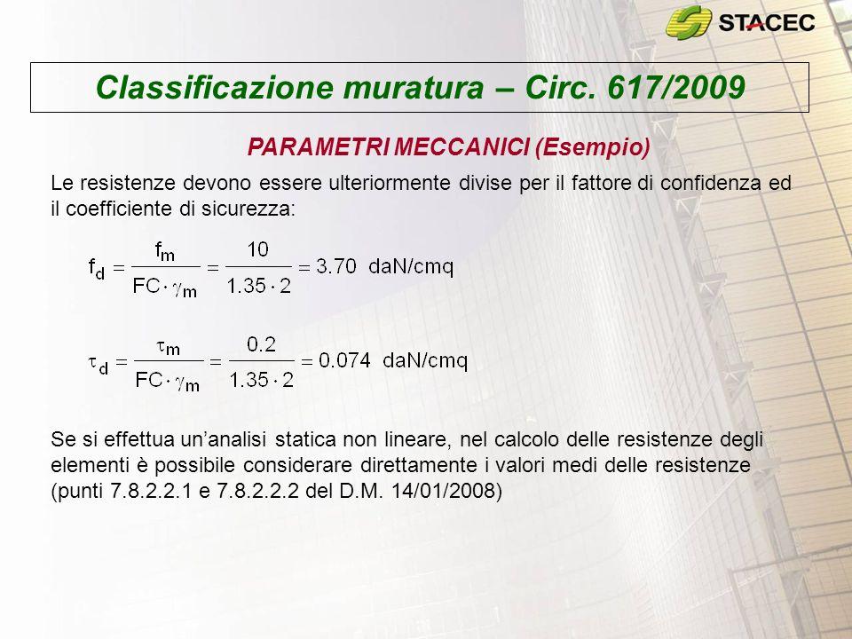 Classificazione muratura – Circ. 617/2009 PARAMETRI MECCANICI (Esempio) Le resistenze devono essere ulteriormente divise per il fattore di confidenza