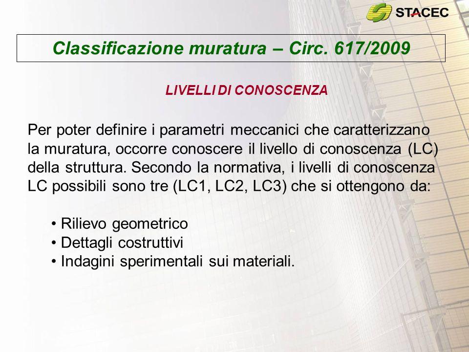 Classificazione muratura – Circ. 617/2009 Per poter definire i parametri meccanici che caratterizzano la muratura, occorre conoscere il livello di con