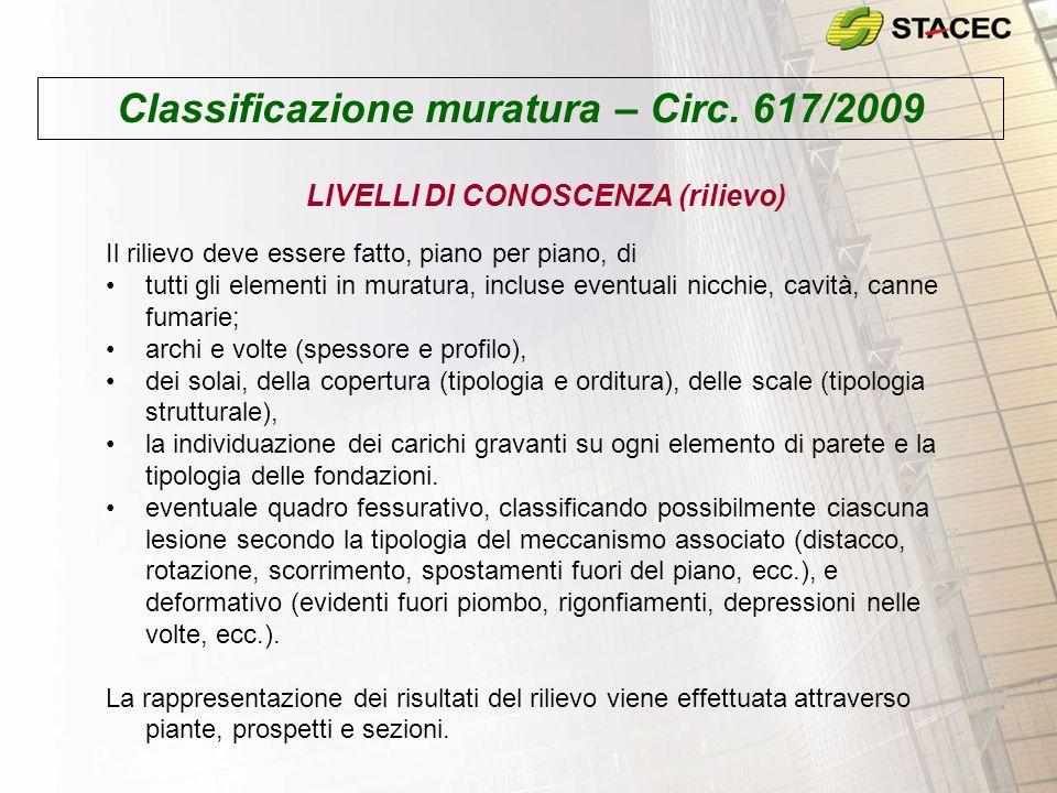 Classificazione muratura – Circ. 617/2009 LIVELLI DI CONOSCENZA (rilievo) Il rilievo deve essere fatto, piano per piano, di tutti gli elementi in mura