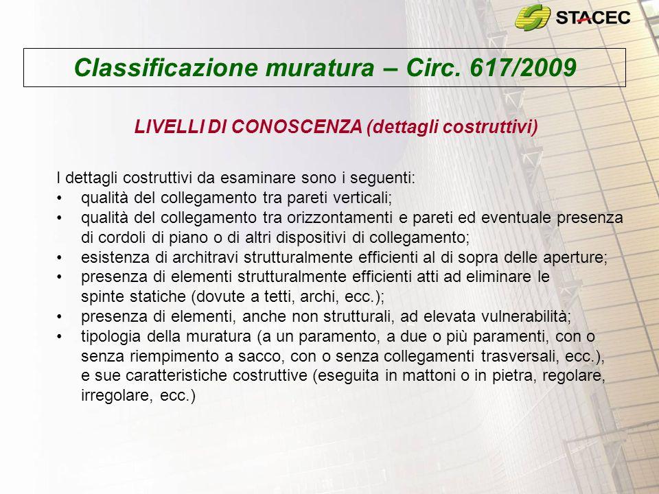Classificazione muratura – Circ. 617/2009 LIVELLI DI CONOSCENZA (dettagli costruttivi) I dettagli costruttivi da esaminare sono i seguenti: qualità de
