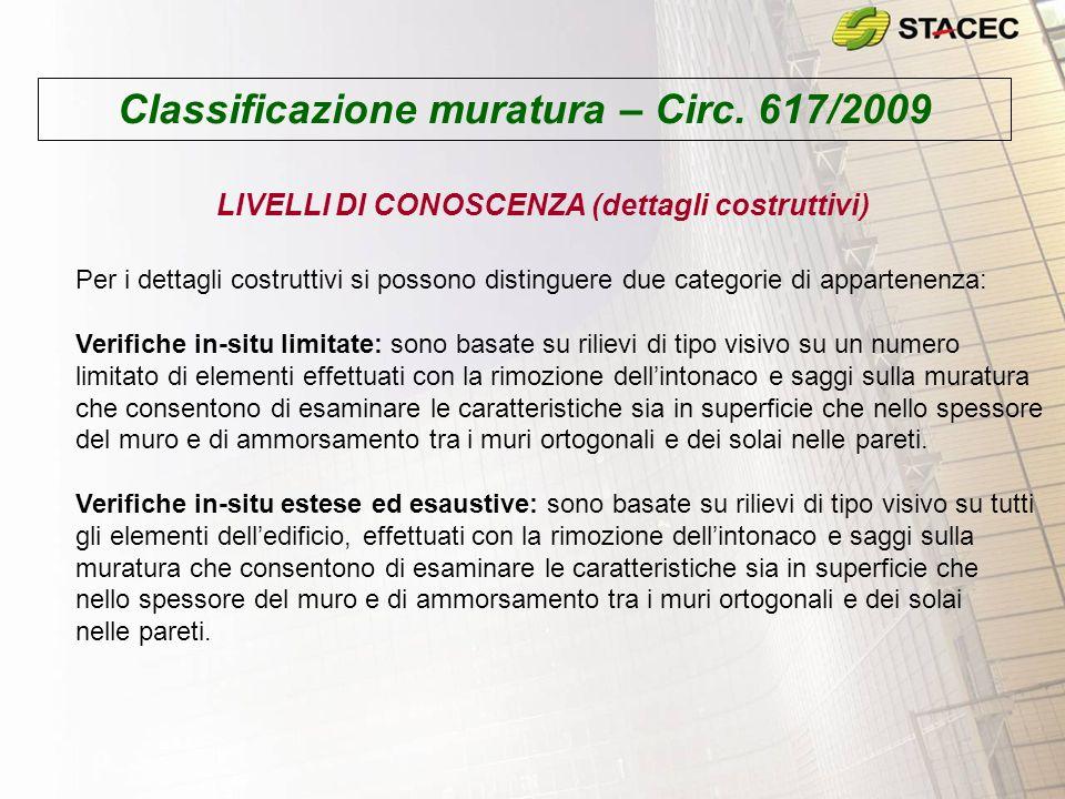 Classificazione muratura – Circ. 617/2009 LIVELLI DI CONOSCENZA (dettagli costruttivi) Per i dettagli costruttivi si possono distinguere due categorie