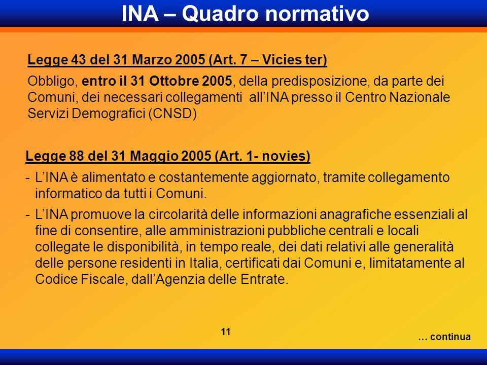 Legge 88 del 31 Maggio 2005 (Art. 1- novies) -LINA è alimentato e costantemente aggiornato, tramite collegamento informatico da tutti i Comuni. -LINA