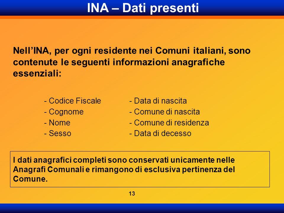 NellINA, per ogni residente nei Comuni italiani, sono contenute le seguenti informazioni anagrafiche essenziali: INA – Dati presenti - Codice Fiscale-