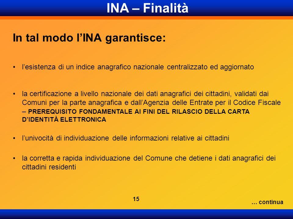 In tal modo lINA garantisce: lesistenza di un indice anagrafico nazionale centralizzato ed aggiornato la certificazione a livello nazionale dei dati a