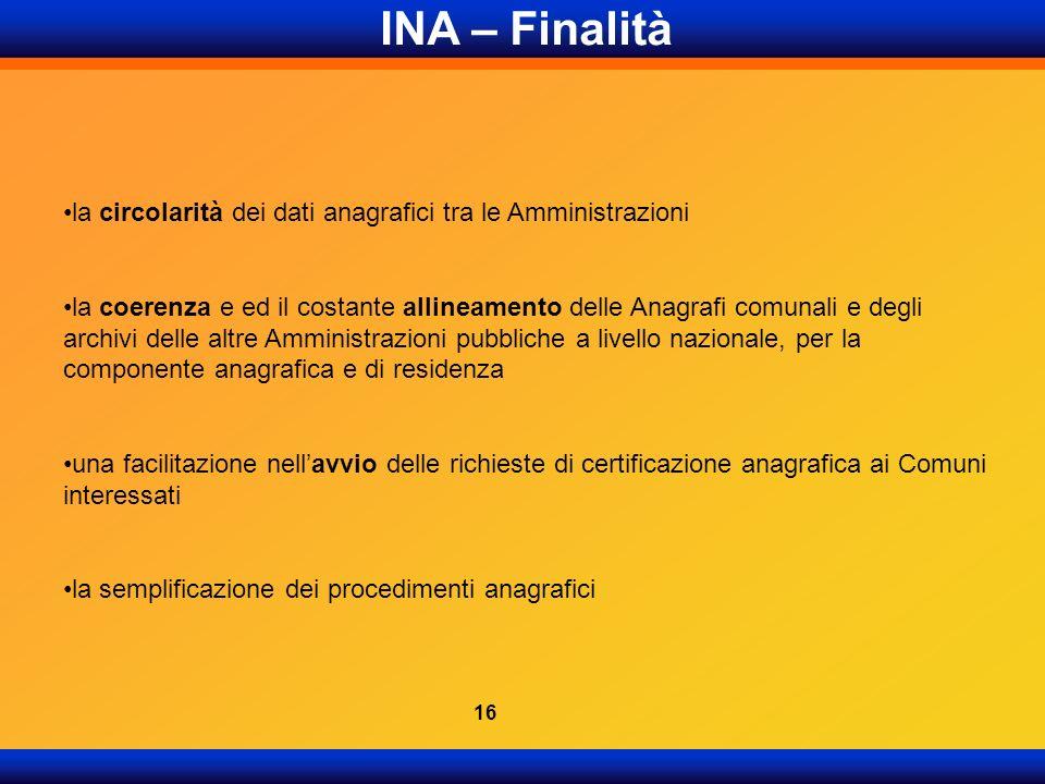 INA – Finalità la circolarità dei dati anagrafici tra le Amministrazioni la coerenza e ed il costante allineamento delle Anagrafi comunali e degli arc