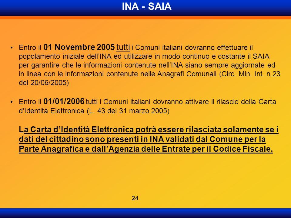 INA - SAIA Entro il 01 Novembre 2005 tutti i Comuni italiani dovranno effettuare il popolamento iniziale dellINA ed utilizzare in modo continuo e cost