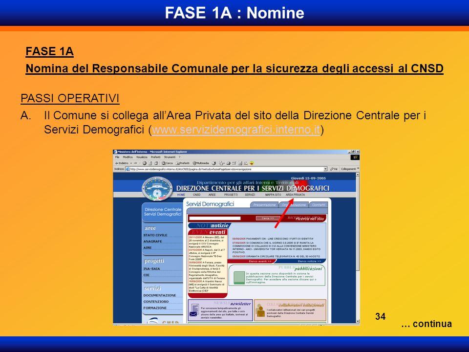 FASE 1A : Nomine FASE 1A Nomina del Responsabile Comunale per la sicurezza degli accessi al CNSD PASSI OPERATIVI A.Il Comune si collega allArea Privat