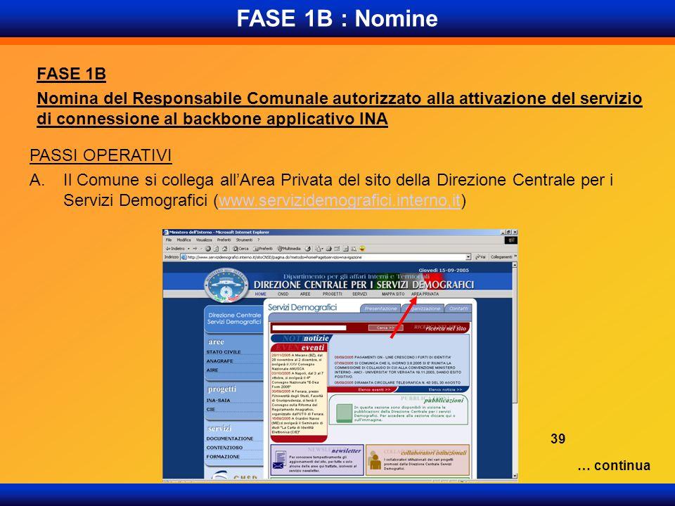 FASE 1B : Nomine FASE 1B Nomina del Responsabile Comunale autorizzato alla attivazione del servizio di connessione al backbone applicativo INA PASSI O