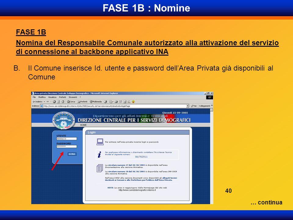 FASE 1B : Nomine FASE 1B Nomina del Responsabile Comunale autorizzato alla attivazione del servizio di connessione al backbone applicativo INA B.Il Co