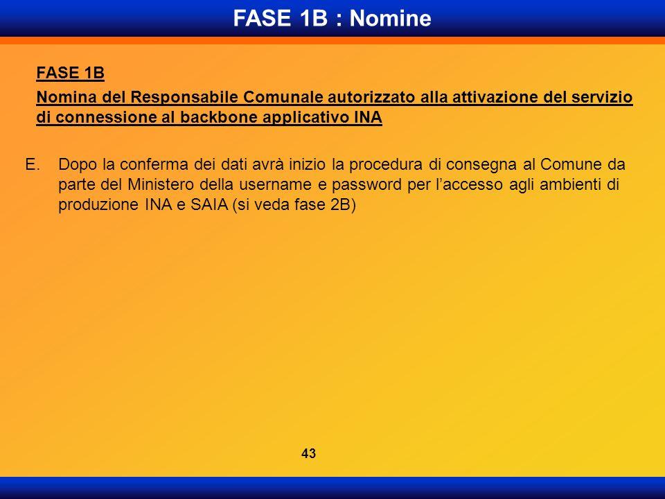 FASE 1B : Nomine FASE 1B Nomina del Responsabile Comunale autorizzato alla attivazione del servizio di connessione al backbone applicativo INA E.Dopo