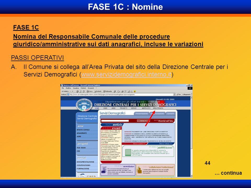 FASE 1C : Nomine FASE 1C Nomina del Responsabile Comunale delle procedure giuridico/amministrative sui dati anagrafici, incluse le variazioni PASSI OP