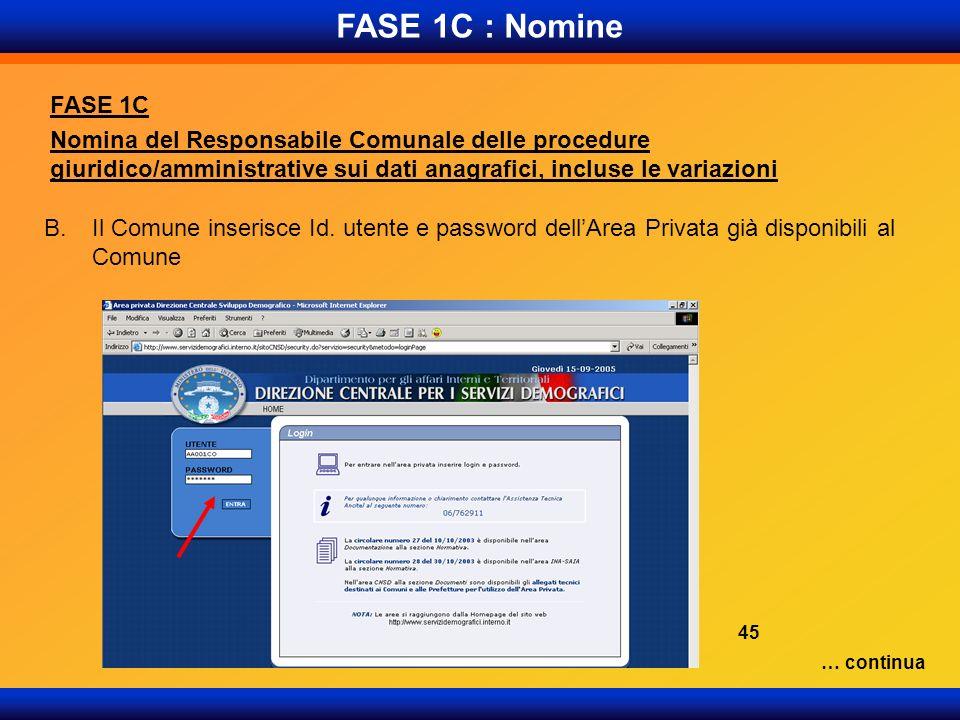 FASE 1C : Nomine FASE 1C Nomina del Responsabile Comunale delle procedure giuridico/amministrative sui dati anagrafici, incluse le variazioni B.Il Com