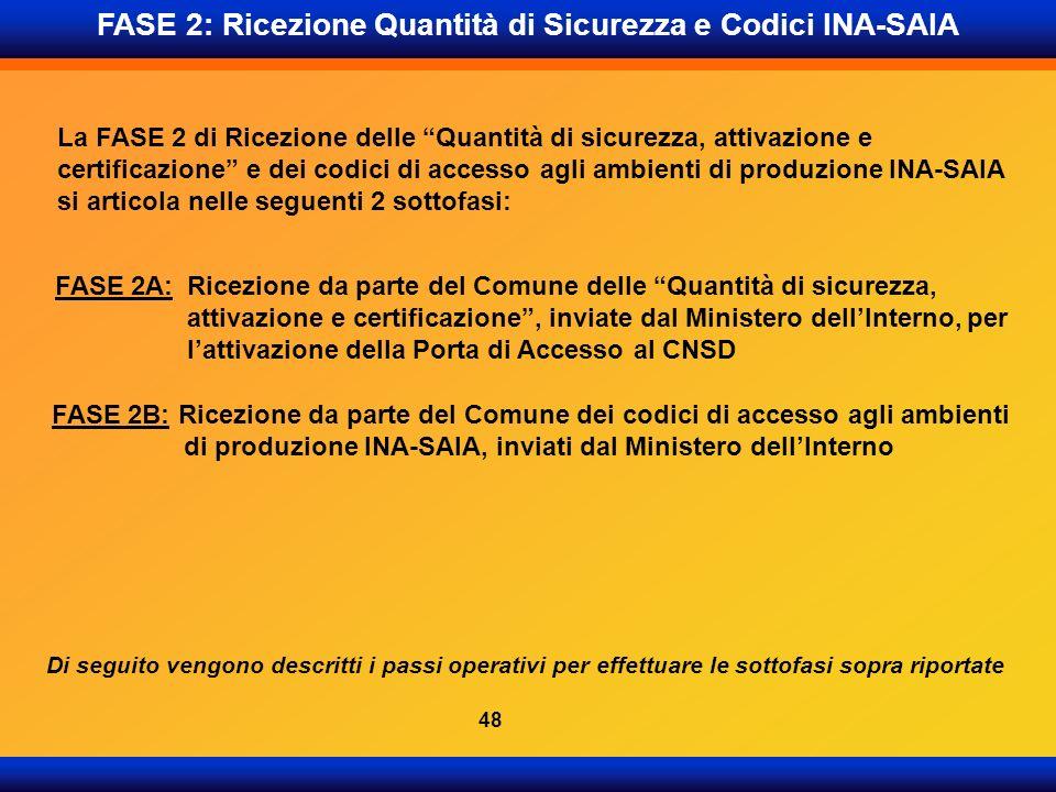 FASE 2: Ricezione Quantità di Sicurezza e Codici INA-SAIA La FASE 2 di Ricezione delle Quantità di sicurezza, attivazione e certificazione e dei codic