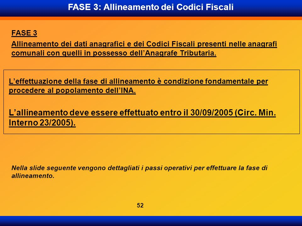 FASE 3: Allineamento dei Codici Fiscali FASE 3 Allineamento dei dati anagrafici e dei Codici Fiscali presenti nelle anagrafi comunali con quelli in po