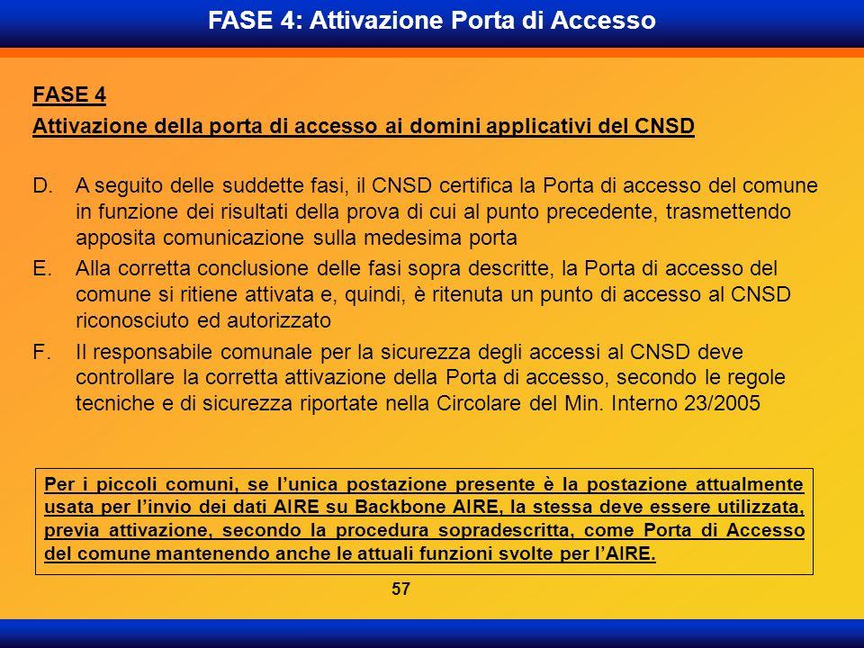D.A seguito delle suddette fasi, il CNSD certifica la Porta di accesso del comune in funzione dei risultati della prova di cui al punto precedente, tr