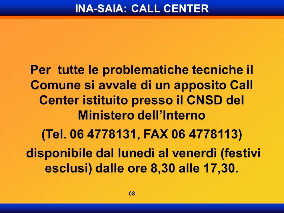 INA-SAIA: CALL CENTER Per tutte le problematiche tecniche il Comune si avvale di un apposito Call Center istituito presso il CNSD del Ministero dellIn