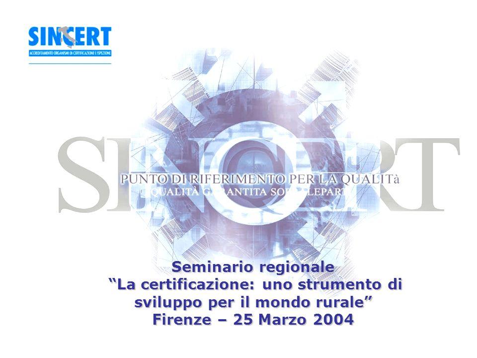 1 Seminario regionale La certificazione: uno strumento di sviluppo per il mondo rurale Firenze – 25 Marzo 2004
