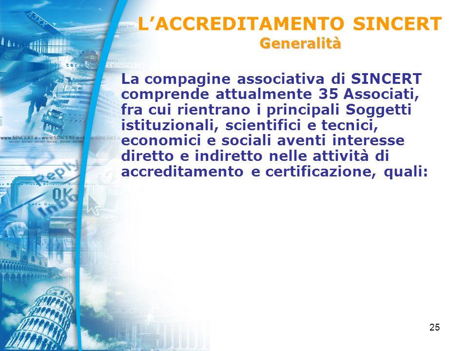 25 La compagine associativa di SINCERT comprende attualmente 35 Associati, fra cui rientrano i principali Soggetti istituzionali, scientifici e tecnici, economici e sociali aventi interesse diretto e indiretto nelle attività di accreditamento e certificazione, quali: LACCREDITAMENTO SINCERTGeneralità