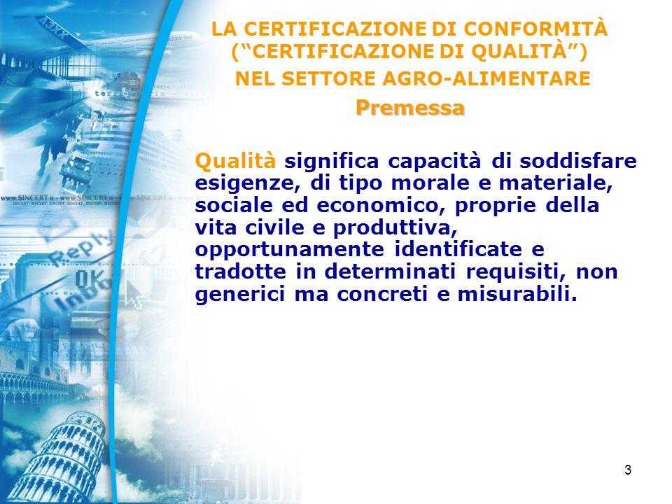 64 LO STATO DELLE CERTIFICAZIONI ACCREDITATE NEL SETTORE AGRO-ALIMENTARE Certificazione di sistema Settore EA 01 (agricoltura e pesca) In data Marzo 2004, le aziende agricole e ittiche in possesso di certificazioni di sistema di gestione per la qualità (ISO 9001) accreditate SINCERT (siti produttivi), sono circa 320, pari allo 0.46 % del totale delle certificazioni ISO 9001 accreditate (69.000) (incremento del 12 % rispetto al dato 2002).