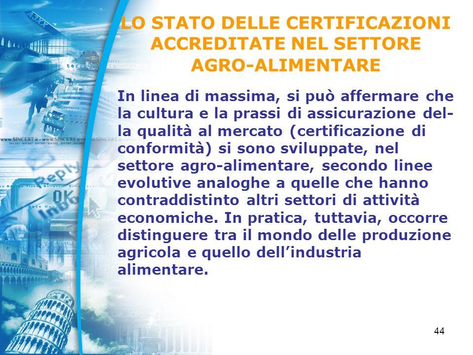 44 In linea di massima, si può affermare che la cultura e la prassi di assicurazione del- la qualità al mercato (certificazione di conformità) si sono sviluppate, nel settore agro-alimentare, secondo linee evolutive analoghe a quelle che hanno contraddistinto altri settori di attività economiche.