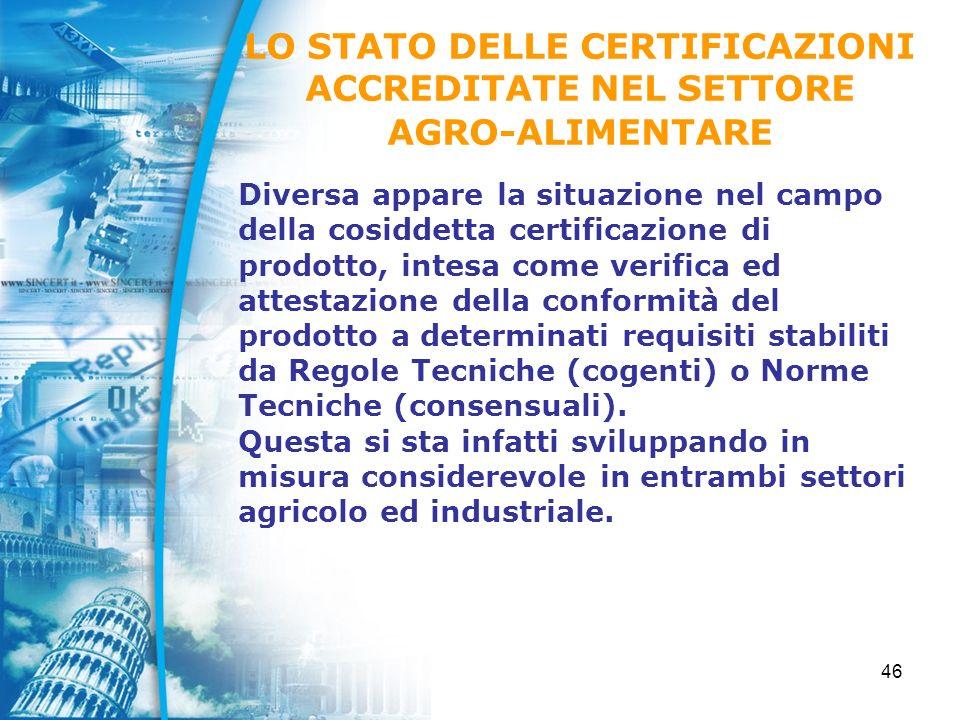 46 Diversa appare la situazione nel campo della cosiddetta certificazione di prodotto, intesa come verifica ed attestazione della conformità del prodotto a determinati requisiti stabiliti da Regole Tecniche (cogenti) o Norme Tecniche (consensuali).