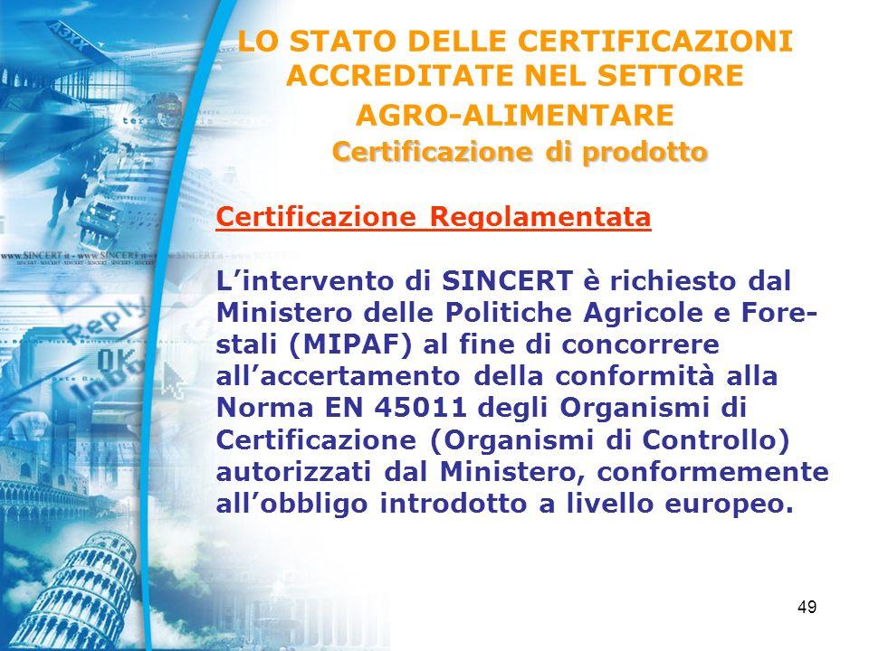 49 Certificazione Regolamentata Lintervento di SINCERT è richiesto dal Ministero delle Politiche Agricole e Fore- stali (MIPAF) al fine di concorrere allaccertamento della conformità alla Norma EN 45011 degli Organismi di Certificazione (Organismi di Controllo) autorizzati dal Ministero, conformemente allobbligo introdotto a livello europeo.