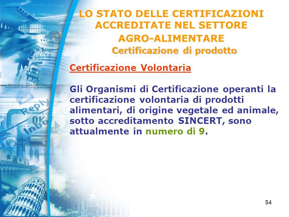 54 Certificazione Volontaria Gli Organismi di Certificazione operanti la certificazione volontaria di prodotti alimentari, di origine vegetale ed animale, sotto accreditamento SINCERT, sono attualmente in numero di 9.