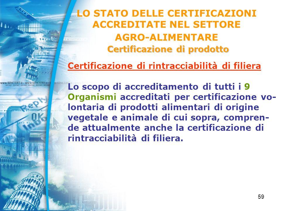 59 Certificazione di rintracciabilità di filiera Lo scopo di accreditamento di tutti i 9 Organismi accreditati per certificazione vo- lontaria di prodotti alimentari di origine vegetale e animale di cui sopra, compren- de attualmente anche la certificazione di rintracciabilità di filiera.