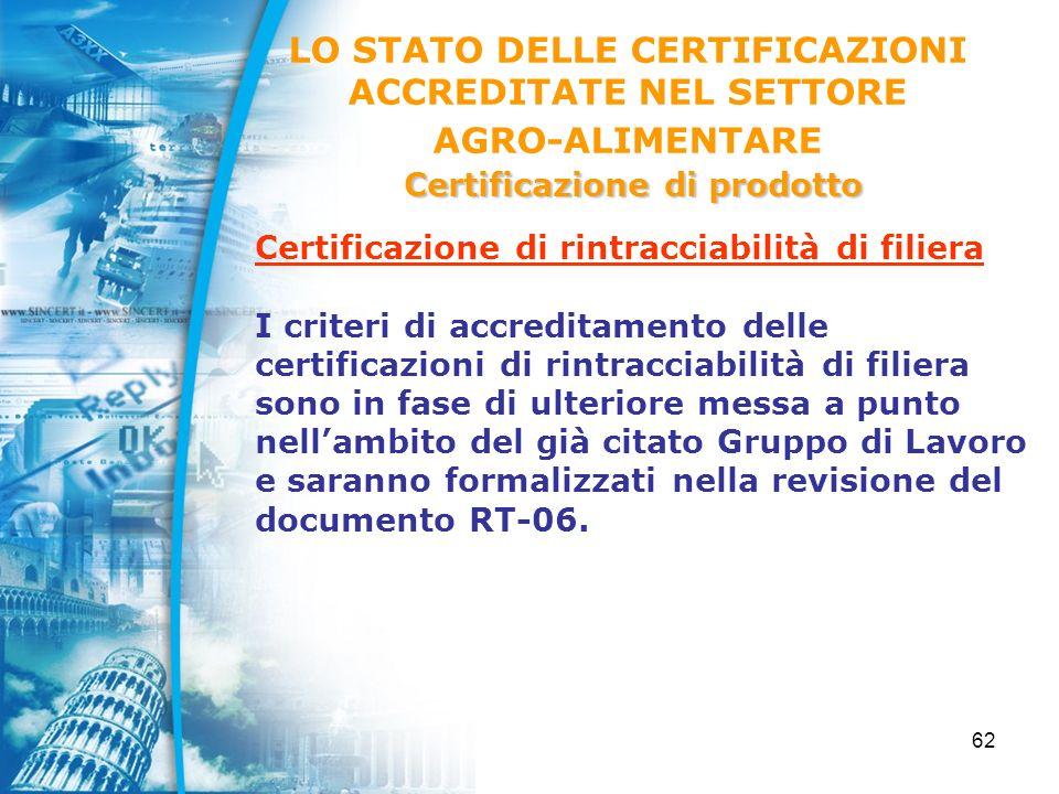 62 Certificazione di rintracciabilità di filiera I criteri di accreditamento delle certificazioni di rintracciabilità di filiera sono in fase di ulteriore messa a punto nellambito del già citato Gruppo di Lavoro e saranno formalizzati nella revisione del documento RT-06.
