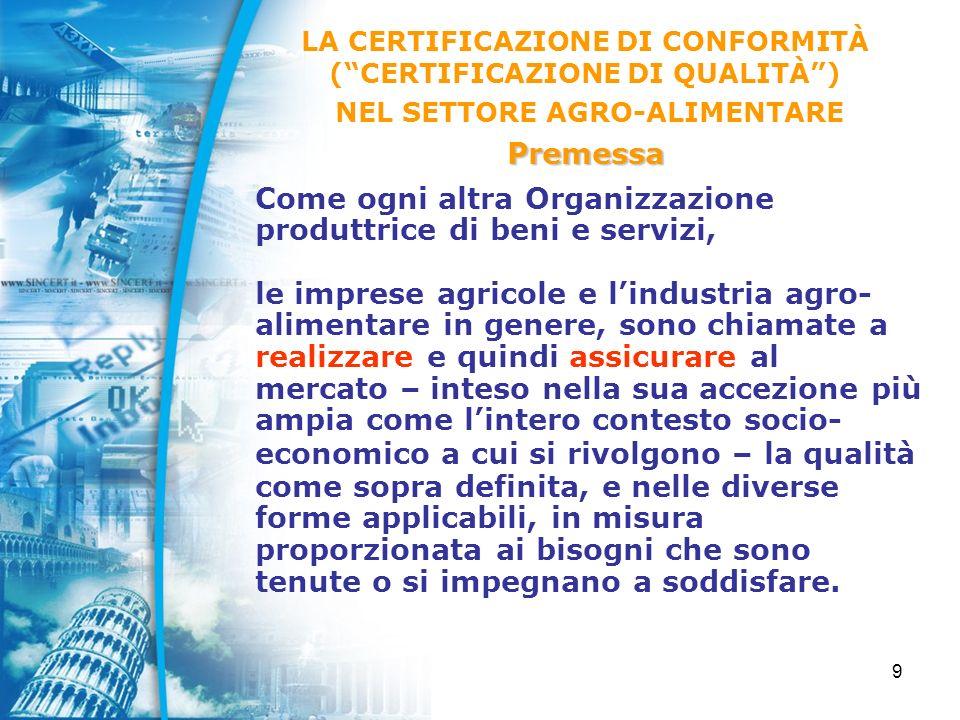 40 GdL Agricoltura Biologica, avente lo scopo di formulare indirizzi per promuovere la validità e lefficacia delle certificazione dei prodotti biologici, nel quadro dei Regolamenti europei applicabili, e che sta predisponendo un apposito documento di prescrizioni integrative per laccreditamento degli Organismi di Controllo (Documento SINCERT RT-16 già disponibile in bozza); LACCREDITAMENTO SINCERT Laccreditamento nel settore agro-alimentare agro-alimentare