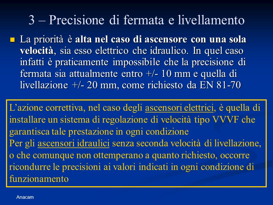 Anacam 3 – Precisione di fermata e livellamento La priorità è alta nel caso di ascensore con una sola velocità, sia esso elettrico che idraulico. In q